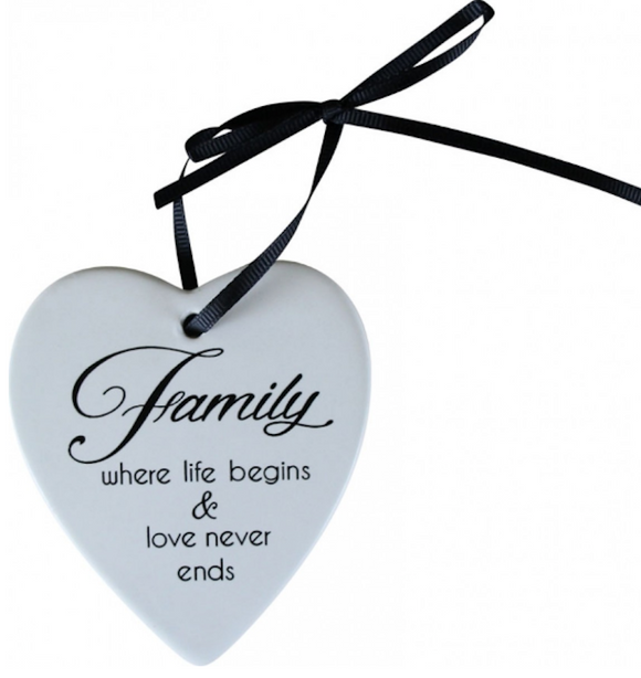 Ceramic Hanging Heart - Family where life begins & Love never ends