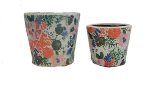 Multi Coloured Flower design Patterned Large and Small Pot