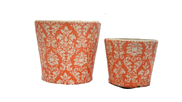 Orange and White Patterned Large and Small Pot