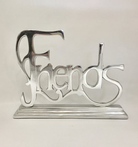 Large Friends Silver Metal Word Statue