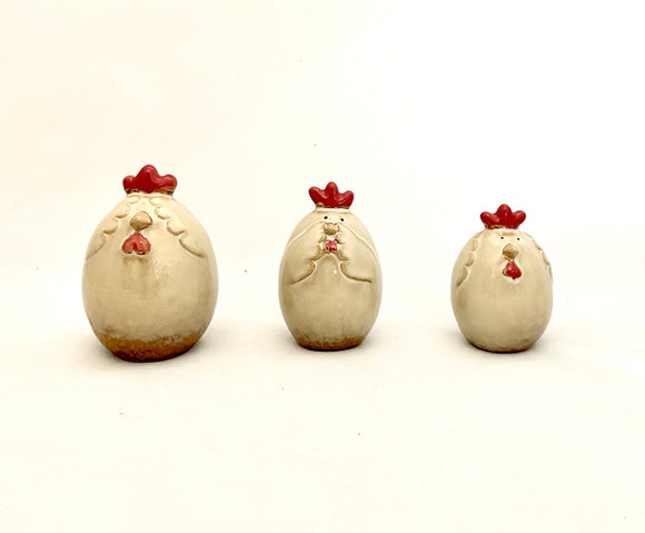 Ceramic Chicken See/Hear/Speak No Evil Set of 3