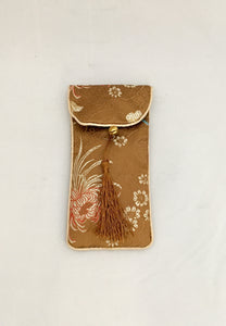 Gold Japanese Kimono Material Glasses Soft Pouch Case