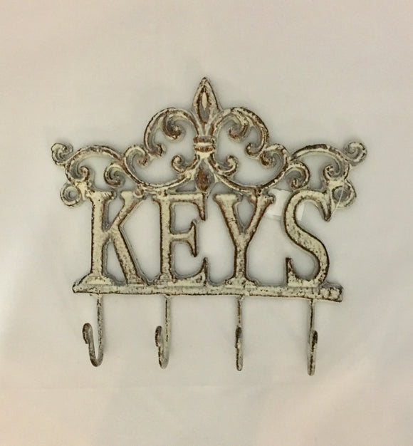 White cast iron fleur de lis Keys hook
