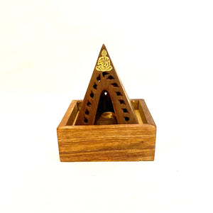 Wooden Pyramid Incense Holder for Cones and Sticks