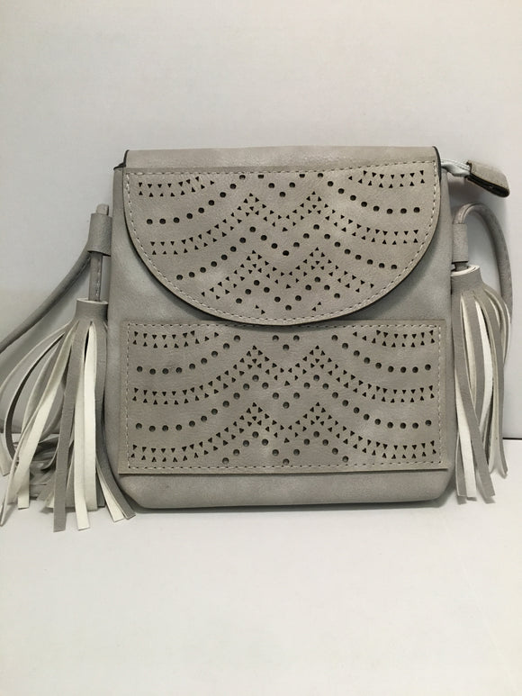 Light Grey Tassel Pierced Detailed Clutch Carry PU Leather Hand Bag