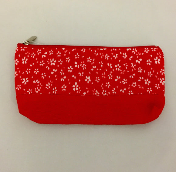 Red Design Kimono Fabric Purse/Pen Case/ Make-up Bag