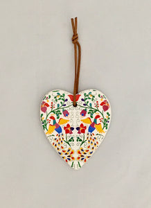 Ceramic Hanging Heart - 'Best Wishes' Colourful Pattern Folk