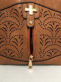 Caramel Brown Pierced with Cross Detailed Clutch Carry PU Leather Hand Bag