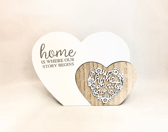 "Double Love Heart White/Natural Wooden Sign/Decoration ""Home is Where our Store Begins"" ~ Home Sweet Home"