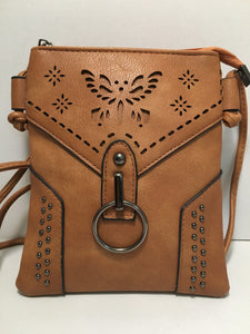 Caramel Brown Butterfly Design PU Leather Shoulder Bag