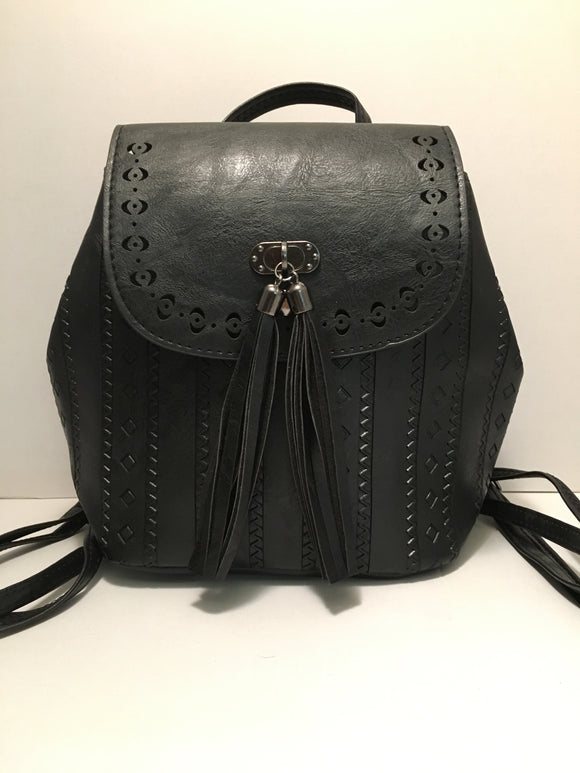 Black Small PU Leather Backpack