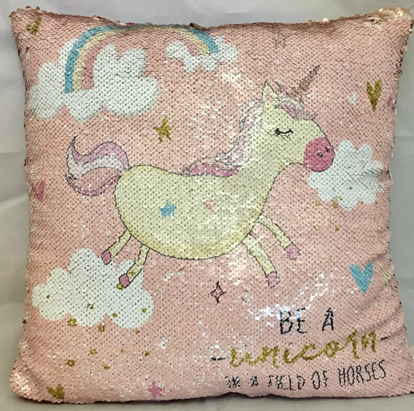 Unicorn Sequined Square Cushion 'Be a unicorn in a field of horses' Light Pink 45cm x 45cm