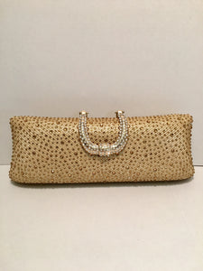 Gold Satin Rhinestone Evening/Wedding/Party Clutch Bag