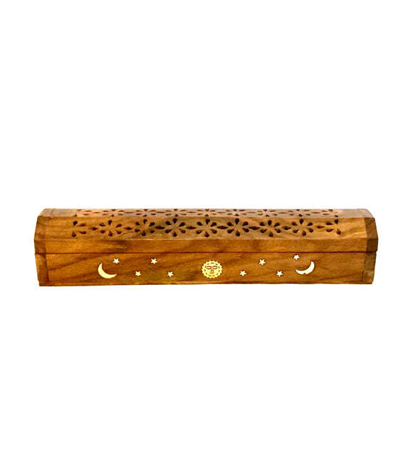 2 x 30 cm Sun & Moon Wooden Box Incense Holder for Cones and Sticks