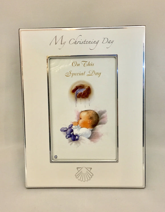 White and Silver My Christening Day Photo Frame