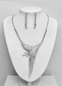 Diamonte Necklace Earrings Set Formal Wedding Party Bridal Jewelry
