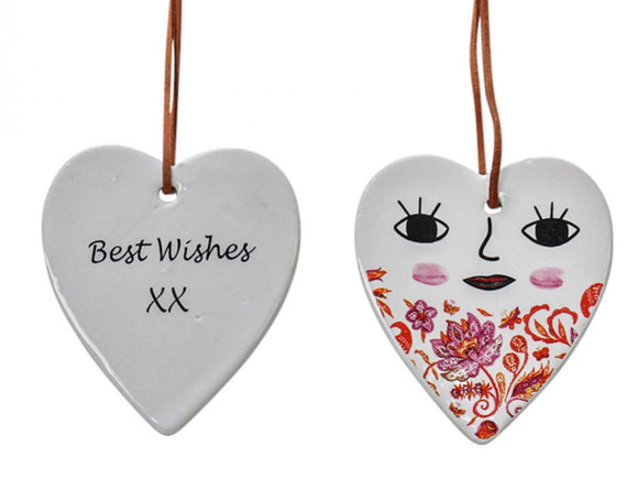 "Ceramic hanging Heart - ""Best Wishes"" XX Heart Smiling Face Red Vintage"