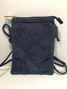 Blue Suede Design PU Leather Shoulder Bag