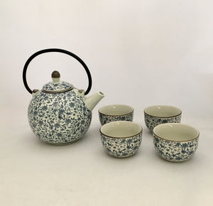 Tea Pot With 4 Tea Cup - Japanese Style Blue Flower Pattern