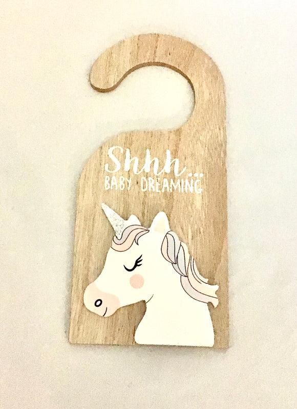 Unicorn door tag - 'Shhh...Baby Dreaming' fibreboard