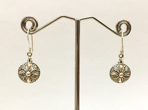 Genuine 18ct Solid Rose Gold & Sterling Silver Earrings