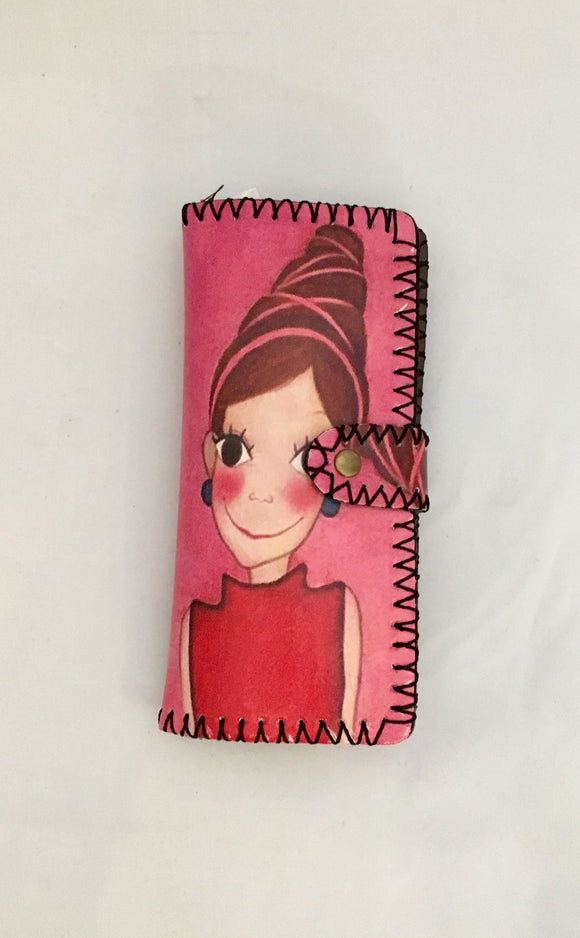 Hot Pink Lady in Red Design PU Leather Wallet