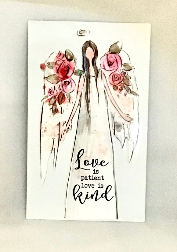 Wall Decoration Hanging Sign - 'Love is patient love is kind' Tin