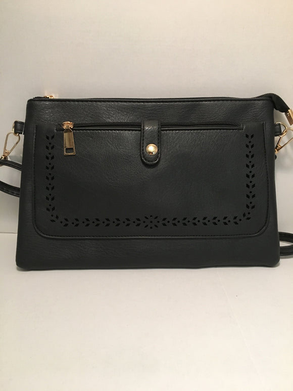 Double Pocket Black PU Leather Handbag