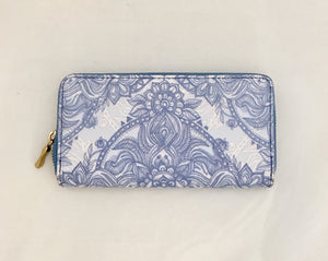 Blue Ink Old Fashion China Design PU Leather Wallet