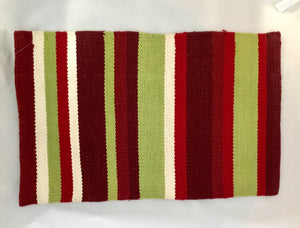 2 x Red And Green Striped Cotton Place Mats 51x33cm