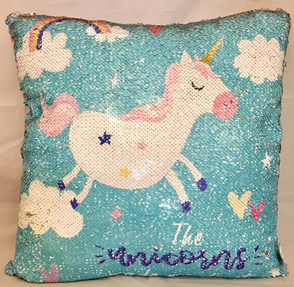 Unicorn Sequined Square Cushion 'The Unicorns make me do it' Baby Blue 45cm x 45cm