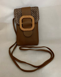 Brown Buckle Clutch PU Leather Shoulder Bag