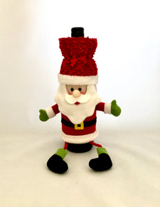 Santa Clause Wine Bottle outfit/Cover Holder Sitting Christmas Holiday Festivity