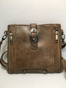 Brown Clutch Duffle Bag Design Carry PU Leather Bag
