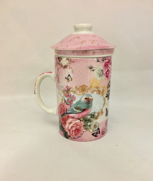 Flower tea cup with tea strainer and lid