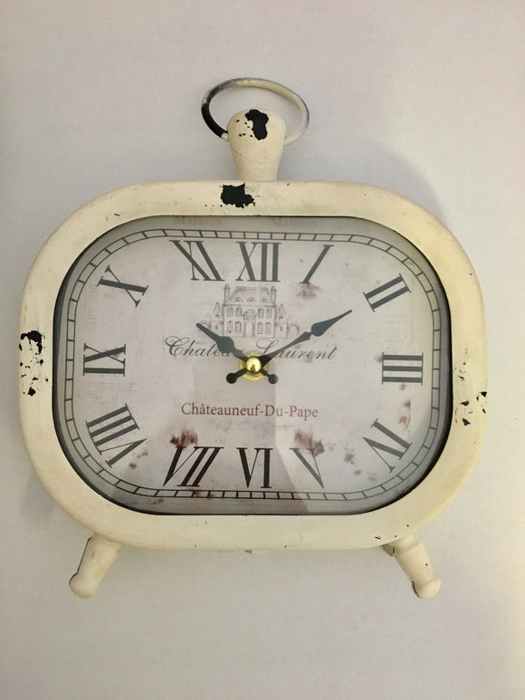 White Vintage Look Metal Table clock