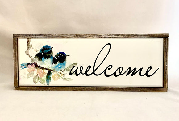 1 Welcome Sign Timber Framed Water Colour Printed
