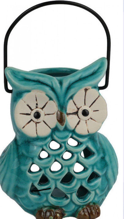 Votive Owl Tea Light Holder Teal