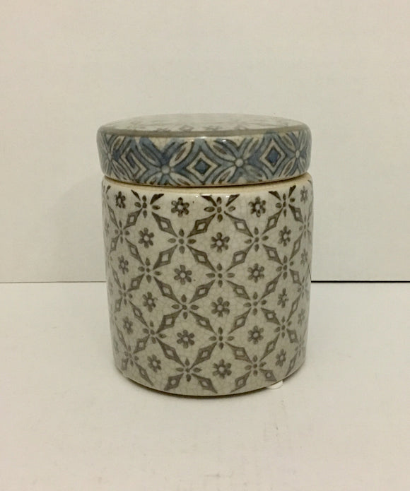 Blue and Gray Porcelain Storage Jar with Lid