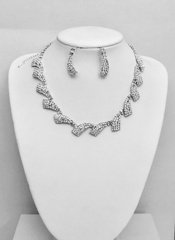 Diamante Necklace Earrings Set Formal Wedding Party Bridal Jewelry