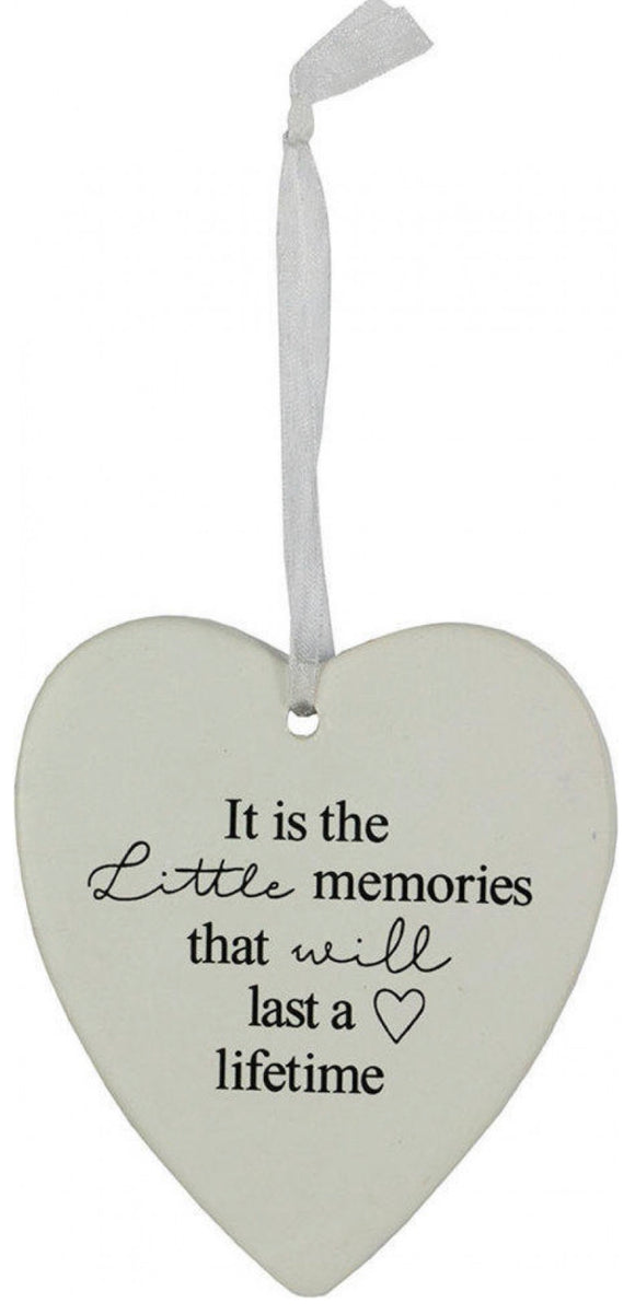 Ceramic Hanging Heart - It is Little Memories that will last a Lifetime
