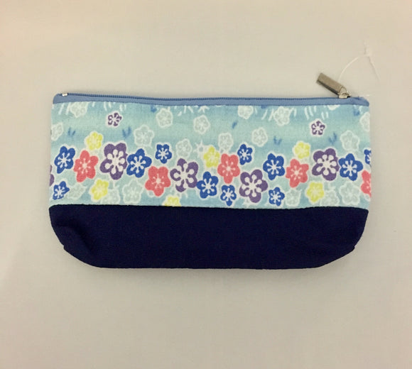Blue Design Kimono Fabric Purse/Pen Case/ Make-up Bag