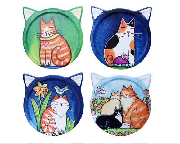 Coasters Cat Paintings Assorted