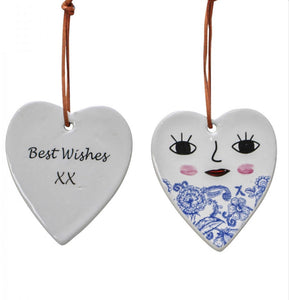 Ceramic Hanging Heart - 'Best Wishes' XX Heart Smiling Face Blue Vintage