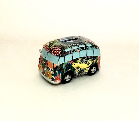 Combi Van Money Box  Yellow Lizard Small