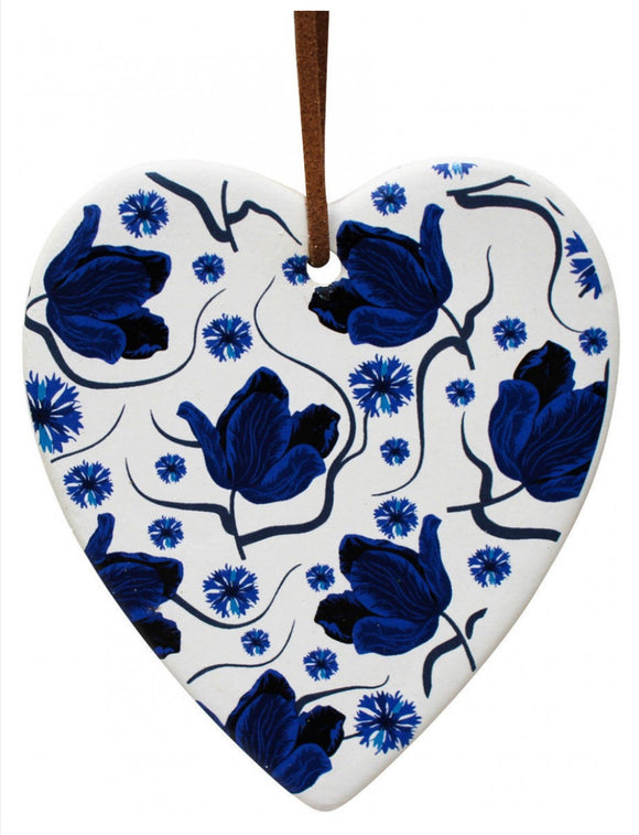 Ceramic Hanging Heart - Navy Floral