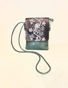 1 Floral Light Blue/Soft Pink Tree Clutch PU Leather Shoulder Bag