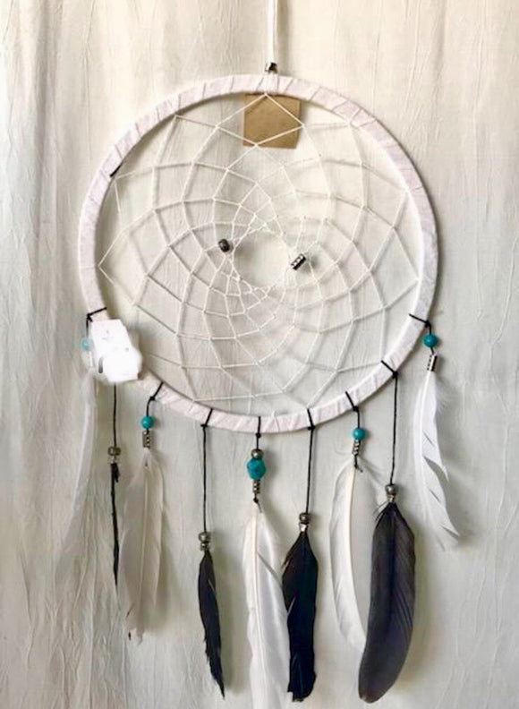 White Turquoise Bead Black and White Feathers Dream Catcher