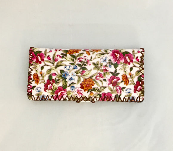 Beautiful Flower Design PU Leather Wallet with White Background