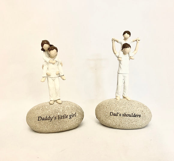 "Sentimental Dad Daughter/Son on Rock ""Daddy's Little Girl"", ""Dad's Shoulders"""